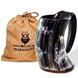 "Norse Tradesman Genuine Viking Drinking Horn Mug - 100% Authentic Horn Beer Tankard w/ Rosewood Bottom and Burlap Gift Sack | ""The Original"""