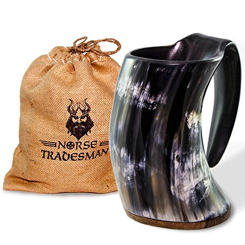 Norse Tradesman Genuine Viking Drinking Horn Mug - 100% Authentic Beer Horn Tankard w/ Rosewood Bottom and Burlap Gift Sack | 24 Ounces | The Original
