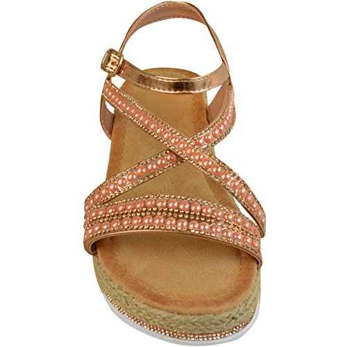 Størrelse Tørst Sandaler Mote Metallic Gull Heelberry® Ferie Legg Flate Tå Damene Kvinners Rose Sommerfest Diamante Espadrilles 7qRHx1wR
