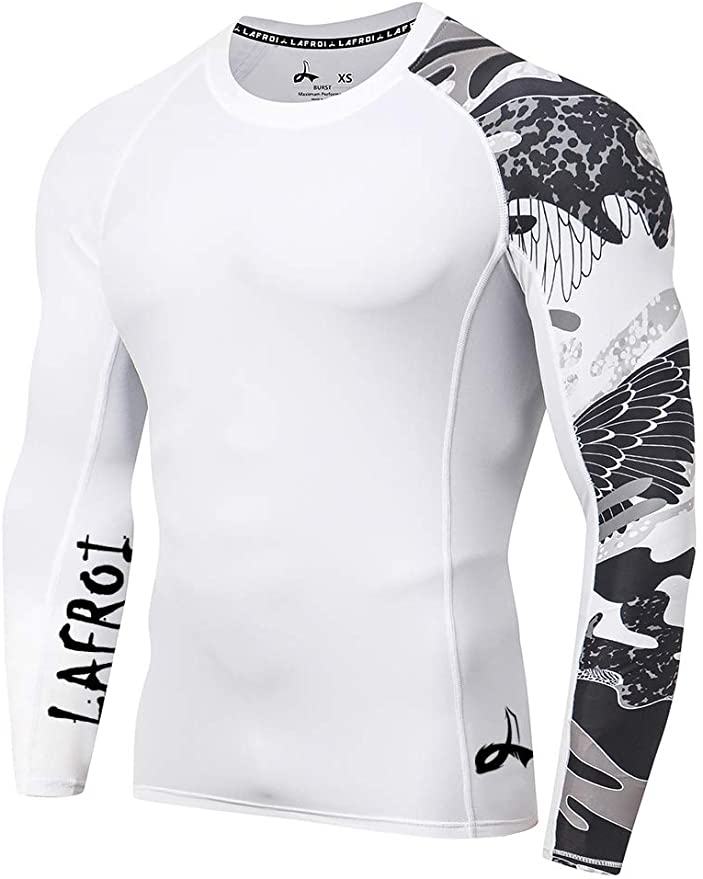 LAFROI Mens Long Sleeve UPF 50 Baselayer Skins Performance Fit Compression Rash Guard-CLYYB