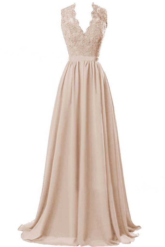 Sunvary Beautiful Chiffon and Lace V Neck Bridesmaid Prom Dresses Holiday Gowns- US Size 6- Champagne