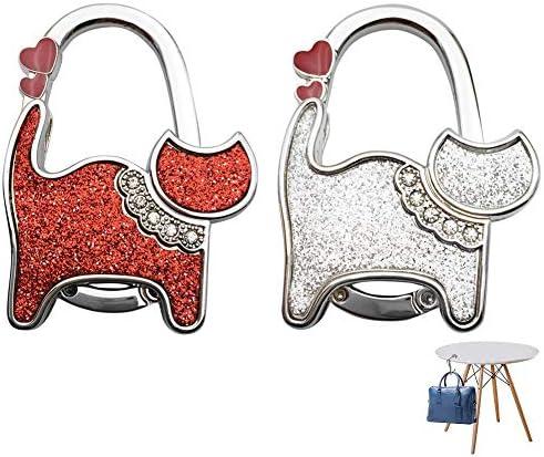 Zilveren opvouwbare handtas hanger 2 stuks opvouwbare handtas hanger Handtas haken voor tafels Opvouwbare metalen handtas hanger voor handtassen Opbergtassen Kleine rugzakken Antislip Draagbaar Rood Zilver