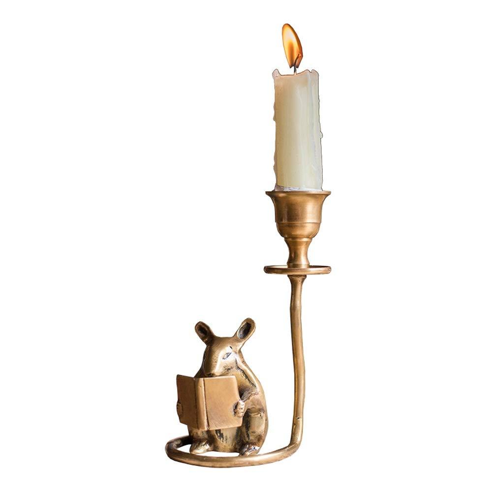 KMYX Brass Handmade Hamster Candlestick Lovely Vintage Candle Holders Desktop Study Decoration Retro Literary Decoration Gift Christmas Halloween Candlelight Dinner Romantic Surprise