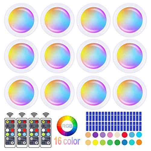 Wireless 16 Color Changing LED Puck Light 12 Pack LED Under Cabinet Lighting Closet Light Battery Powered Night Lights with Remote Control Dimmer & Timing Function(3 AAA Batteries 36 Included)