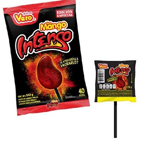 Vero Mango Intenso Chili Covered Mango Limited edition extra hot Flavored Lollipops 40 Pieces super spicy intense tasty mexican candy snacks