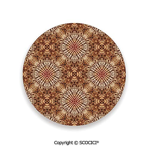 Ceramic coaster With wood Bottom Protection, For Mugs, Wine Glasses, Protects Furniture Round,Tie Dye Decor,Marine Shell Objects Tie Dye Fashion Motif,3.9