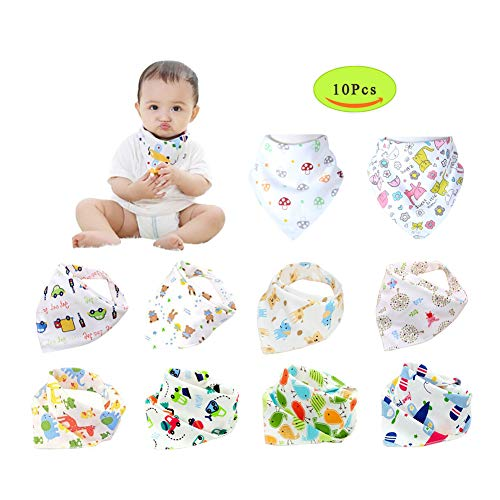 Baby Bandana Drool Bibs,Unisex 10 Pack Set with Adjustable Snaps - Soft 100 Cotton Absorbent Feeder Bibs - Perfect Baby Burp Cloths for Drooling,Feeding and Teething-Model B