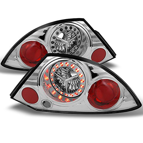 For Mitsubishi Eclipse 2Dr Coupe Led Style Chrome Tail Lights Brake Lamps Replacement Pair Set