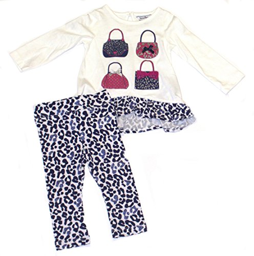 Hartstrings Baby Girls' Purse Tunic and Animal Print Legging Set, Marshmallow 12 Months