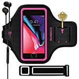 iPhone 8 Plus/iPhone 7 Plus Armband,RUNBACH Sweatproof Running Exercise Gym Cellphone Sportband Bag with Fingerprint Touch/Key Holder and Card Slot for iPhone 7/8 Plus(Pink)