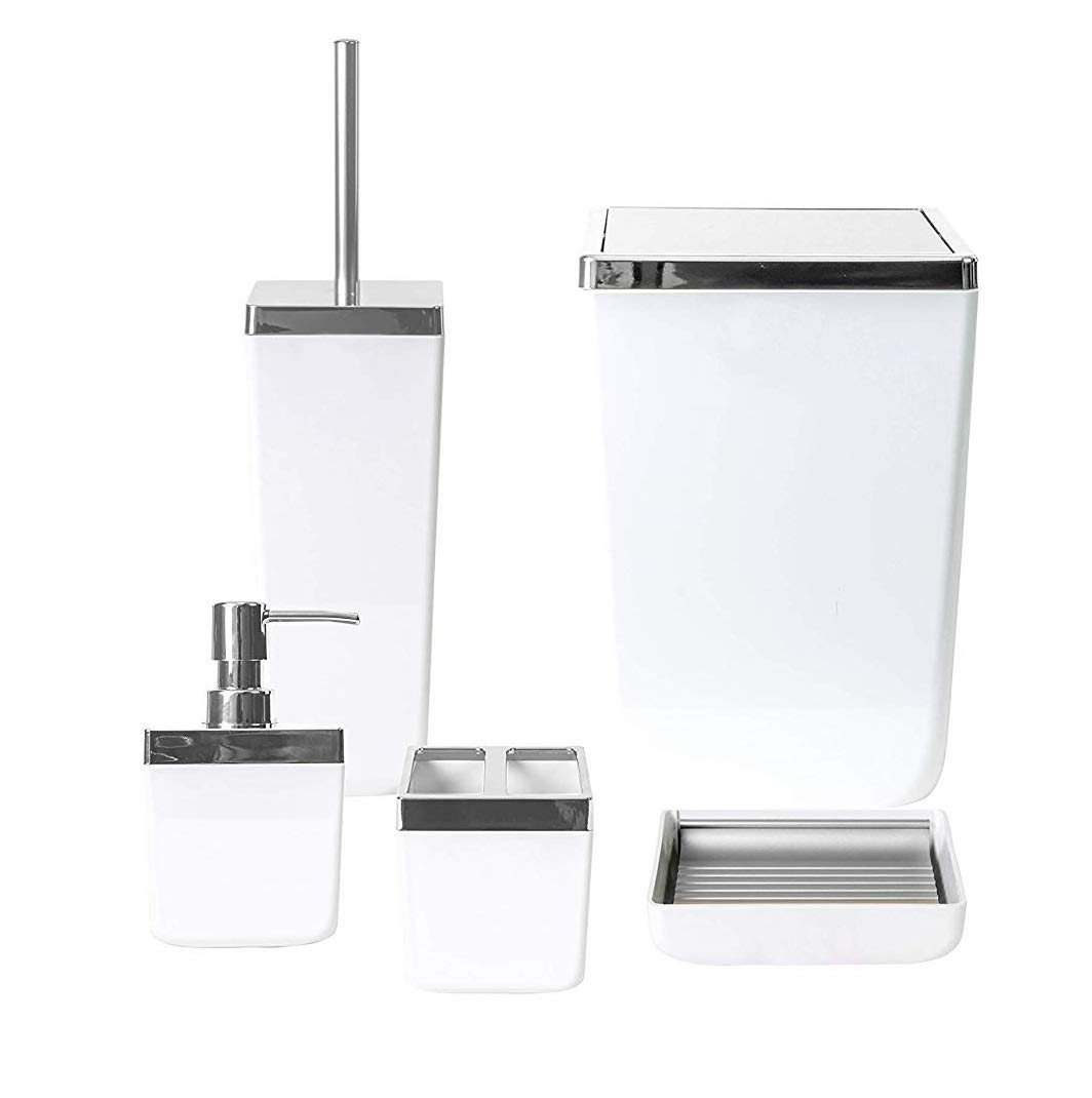 HOLDN' STORAGE Bathroom Accessories Set - 5 Piece, White Elegant and Highly Durable Decor, Bath & Home Accessory Set, Soap Dish, Soap Dispenser, Toilet Brush, Toothbrush Holder & Trash Can