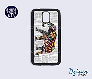 Galaxy S4 Heavy Duty Tough Case Cover - Newspaper Colorful Elephant