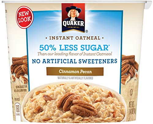 - Quaker Instant Oatmeal Express Cups 50% Less Sugar, Cinnamon Pecan, 1.41 Ounce (Pack of 12)