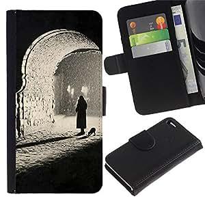 Estuche de Cuero Billetera del tirón Tarjeta de la Bolsa Titular de Suave Caso para Apple Iphone 4 / 4S / CECELL Phone case / / Black White Dark Photo Deep /