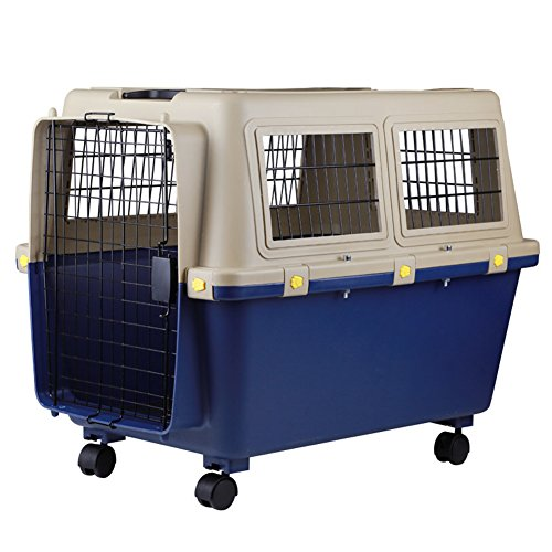 Luxurious Thicken Top-Load Pet Kennel Dogs Carrier Crate with Door Lock & Lockable Universal Wheels Portable Airline Approved Deep Blue – up to 110 lbs 1006775cm