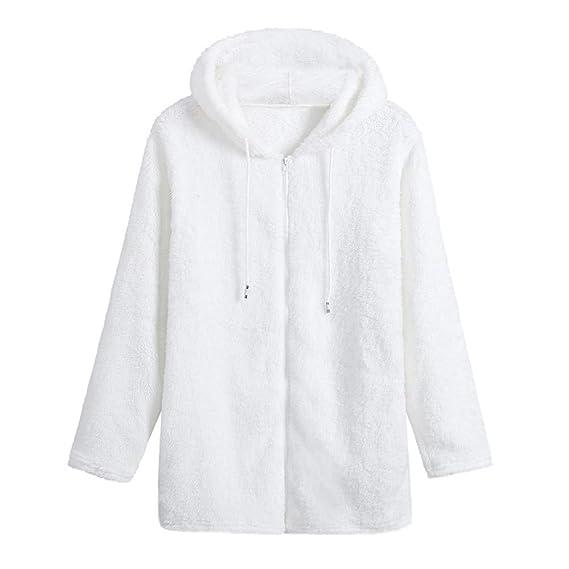 ¡Ofertas de liquidación! Abrigo con Capucha Mujer Otoño Abrigo de Manga Larga Fleece Zipper Fly Sudaderas de Color sólido Top Blusa: Amazon.es: Ropa y ...