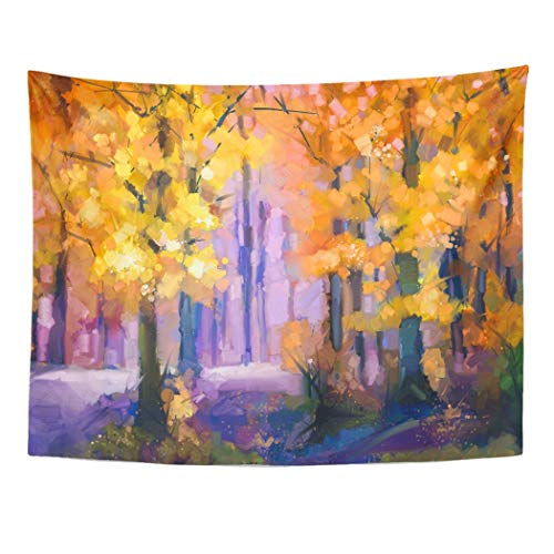 Tarolo Decor Wall Tapestry Oil Painting Landscape Colorful Autumn Trees Semi Abstract of Forest Yellow Red Leaf Fall Season Nature 80 x 60 Inches Wall Hanging Picnic for Bedroom Living Room Dorm ()