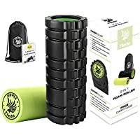 Fledo Foam Roller - Deep Tissue Massage Tool for Myofascial Release Muscle Pain and Stiffness Relief 2in1 Muscle Roller for Physical Therapy&Exercise W/Free Ebook