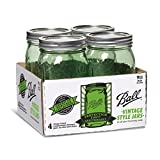 Ball 14400369110 Jar with Lids and Bands (4 Pack), Wide Mouth quart, Green