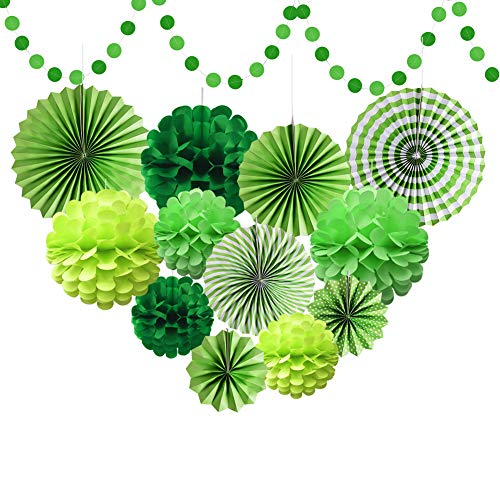 Green Tissue Paper Pom Poms Flower For Dinosaur Birthday Baby Showers Wedding Green Party Decorations Supplies ()