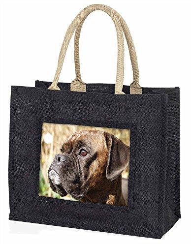 Advanta–Große Einkaufstasche Brindle Boxer Hund Große Einkaufstasche Weihnachtsgeschenk Idee, Jute, schwarz, 42x 34,5x 2cm