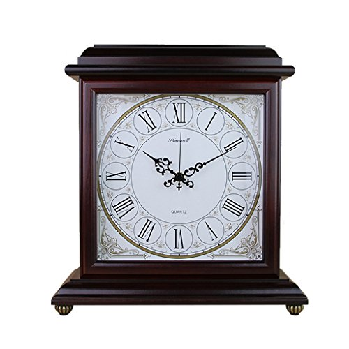 LANNA SHOP- American retro Mantle Table clock Non-Ticking Silent wooden desk clocks for living room/office (Color : Wine ()