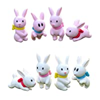 TOYANDONA 8PCS Mini Rabbit Figures Fairy Garden Ornaments DIY Micro Landscape Decorations (Pink and White)