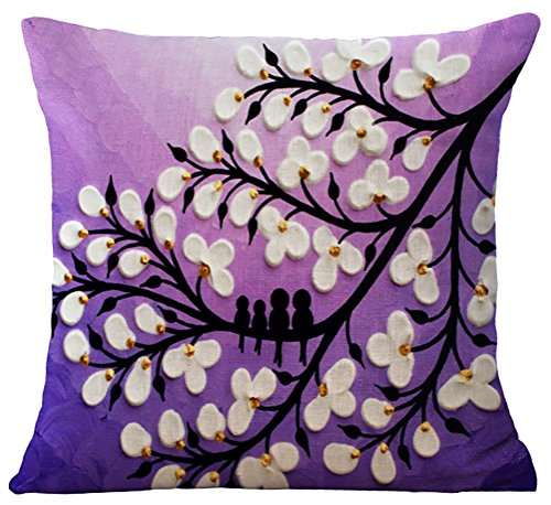 ChezMax Oil Painting Home Decorative Cotton Linen Throw Pillow Cover Cushion Case Square Pillowslip For Kitchen White Flowers in Purple 45 X 45 cm