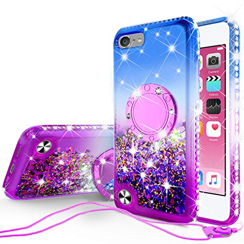 Metal Ipod Touch Case - SOGA Rhinestone Liquid Float Quicksand Cover Cute Girl Phone Case Compatible for iPod Touch 5/iPod Touch 6 Case, with Embedded Metal Diamond Ring for Magnetic Car Mounts and Lanyard - Blue on Purple