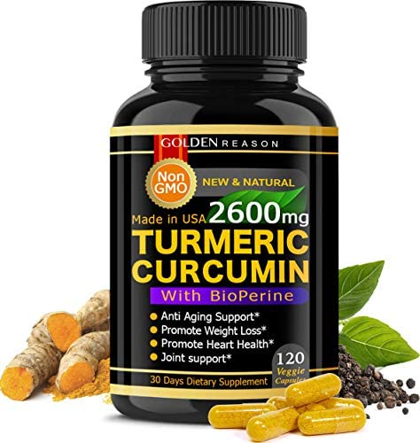 Turmeric Curcumin 2600mg. Immune Support* Joint Support* Promotes Natural Weight Loss* and Heart Health* with Bioperine Black Pepper 120 High Quality Veggie Capsules. Non GMO. Made in USA. 120