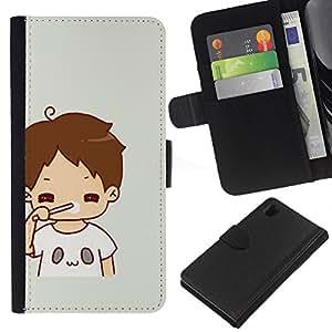 KLONGSHOP // Tirón de la caja Cartera de cuero con ranuras para tarjetas - Kid mamá Madre Dulce bebé - Sony Xperia Z1 L39 //