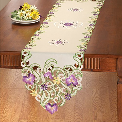 Embroidered Wildflower Table Linens Runner