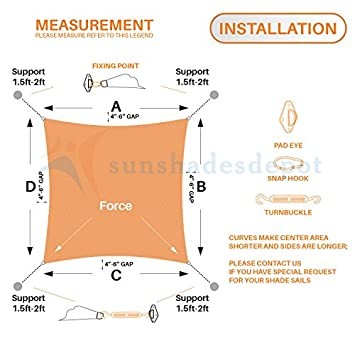 Sunshades Depot 9 x 9 Beige Sun Shade Sail with 6 Inch Hardware Kit 180 GSM Square UV Block Durable Fabric Outdoor Canopy – Custom