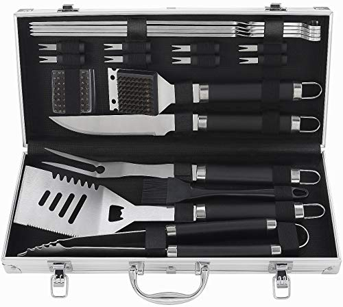 (POLIGO 20pcs Heavy Duty BBQ Accessories Stainless Steel BBQ Grill Tools Set for Camping - Outdoor Barbecue Grill Utensils Set in Aluminum Case - Perfect Grilling Kit for Father's Day Birthday Gift Men)