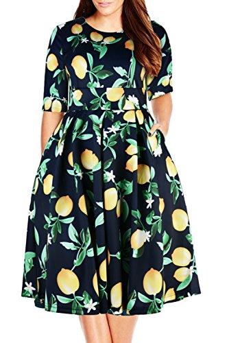 Nemidor Women's Vintage 1950's Half Sleeve Floral Print Cocktail Plus Size Swing Dress (18W, Yellow)