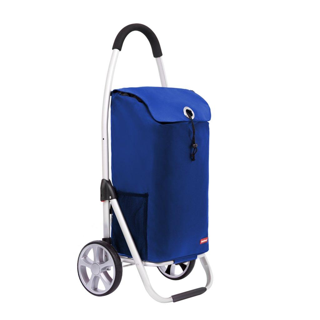 ショッピングカート、アルミニウム合金ショッピングトロリー、折り畳み式折り畳み式トロリー、多機能荷物カート (Color : Dark blue, Size : 100 * 35.5 * 46cm) B07FLZ1Q78 100*35.5*46cm Dark blue Dark blue 100*35.5*46cm