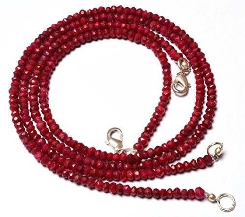 JP_Beads 1 Strand Natural 16 inches Beads Quality Necklace 16 inches Natural,Super Rare Red Ruby Rondelle Beads Faceted Beads Necklace 3.5 to 4 mm