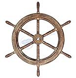 Classic Antique Golden Pirate's Boat Ship Wheel   Wall Decor   Sea Gift   Nagina International … (48 Inches)