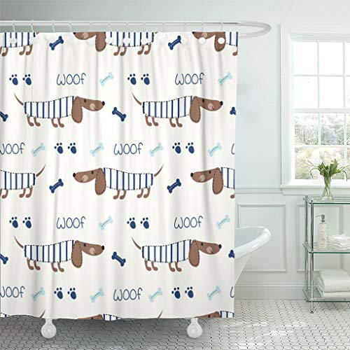 in Blue Stripe with Cute Dogs and Bones Design Brown Dachshund Shower Curtains Sets with Hooks 72 x 72 Inches Waterproof Polyester Fabric ()