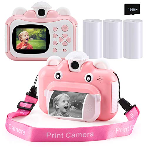 Barchrons Instant Print Digital Kids Camera 1080P Rechargeable Kids Camera for Girls Video Camera with 32G SD Card for 3…