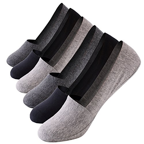 Mens No Show Socks Non-Slip Grips Casual Low Cut Boat Sock 6 Pack (Grey 2 pack+Black 2pack+Dark Grey, US Shoes Size6-12)