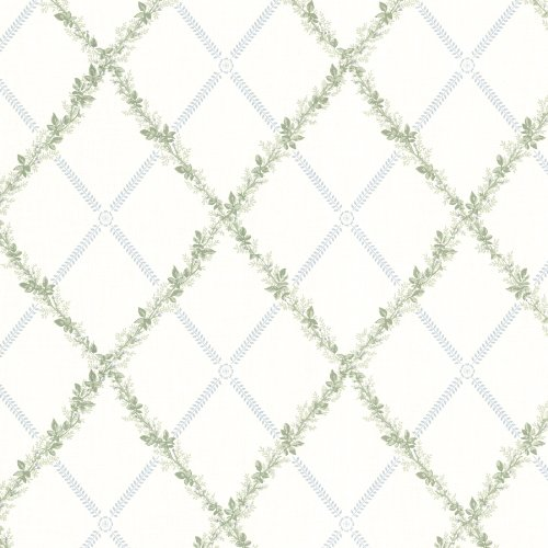 Large Harlequin Wallpaper - Beacon House 302-66883 Heirloom Harlequin Trellis Wallpaper, Blue