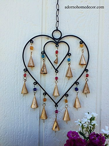 Big Heart Windchime Bells Beads Metal Rustic Garden Decor Indoor Outdoor