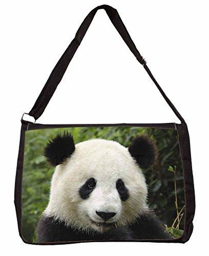 Face of a Giant Panda Bear Large 16 Black School Laptop Shoulder Bag