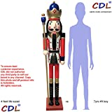 CDL 48'' 4ft tall life-size large/giant red Christmas wooden nutcracker king ornament on stand holds golden scepter for indoor outdoor Xmas/event/ceremonies/commercial decoration(4 feet, king red k11)