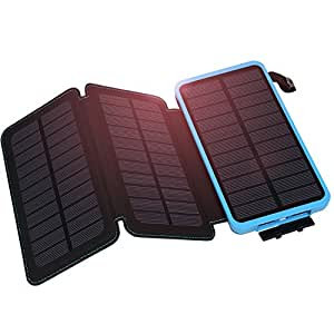 Solar Power Bank, Hiluckey 10000mAh Waterproof Solar Charger with 3 Solar Panels Foldable Portable External Battery Pack Phone Charger for iPhone, Samsung, iPad, GPS and More