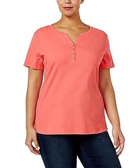 Karen Scott Women/'s Short-Sleeve Henley T-Shirt Peony Coral