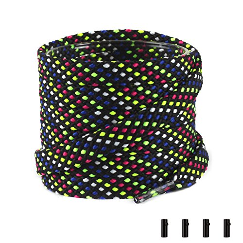 Shoemate Stylish Thick Flat 5/16 Shoe Laces for Sneakers and Athletic Shoes with 4 Shoestrings Aglets