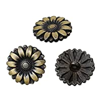 PEPPERLONELY Brand 10PC Antiqued Bronze Flower Scrapbooking Sewing Buttons 18mm (Approximately 3/4 Inch)