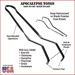 Apocalypse Tongs (All-Purpose Fire Tongs, Fire Pit Tongs, Campfire Tongs, Charcoal Tongs, Fireplace Tongs, Dutch Oven Cooking